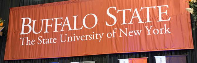 Buffalo State, State University of New York Banner on commencement stage