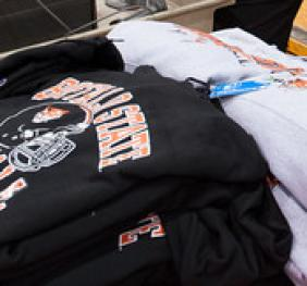display of Buffalo State apparel for sale at commencement